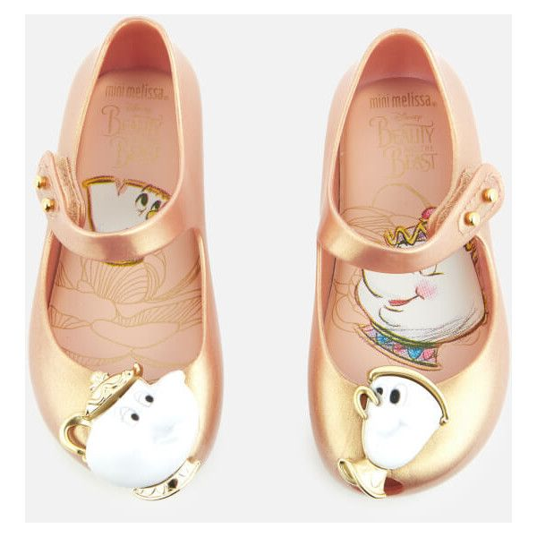 Mini Melissa Toddlers' Disney Ultragirl 18 Beauty Ballet Flats (285 BRL) ❤ liked on Polyvore featuring shoes, flats, pink, pink ballet flats, ballet shoes, leather flats, ballet flats and ballerina flat shoes