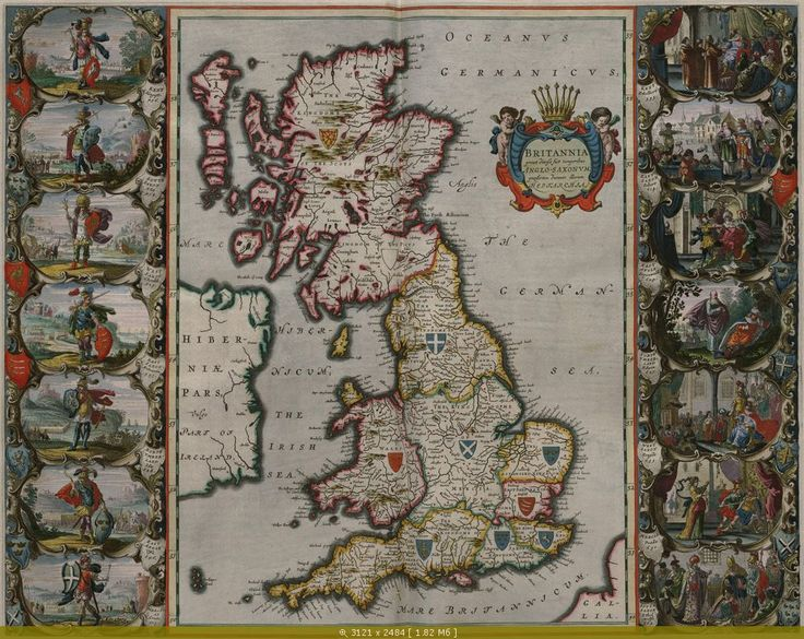Great Britain Map, 1648