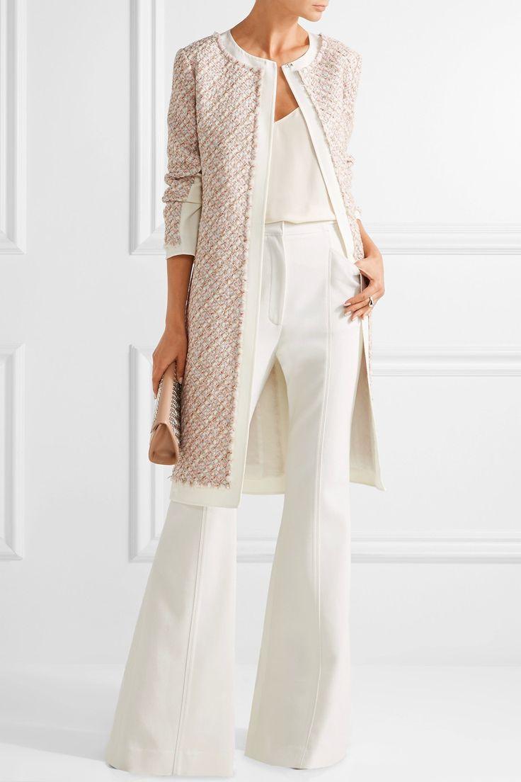 Oscar de la Renta | Canvas-trimmed metallic tweed coat | NET-A-PORTER.COM