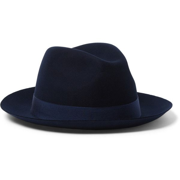 Loro Piana Laurence Felt Fedora ($1,195) ❤ liked on Polyvore featuring men's fashion, men's accessories, men's hats, blue, mens wool felt fedora hats, mens blue fedora hat, mens felt hat and mens fedora hats