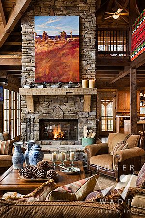 Nice big stone fireplace in the living room for a large cabin: Log Homes, Stones Fireplaces, Living Rooms, Dreams, Logs Cabin Home, Log Cabins, House, Logs Home, Fire Places