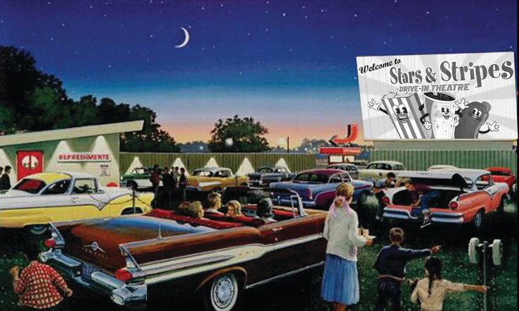 New Braunfels Drive-In Movie Theater   Stars & Stripes has proclaimed that they will start constructing a drive-in movie theater in New Braunfels, Texas during the first quarter of 2014, which will be ready for opening during the summer. This drive-in theater is expected to be open year-round and will show digital first-run double-features nightly. It will have the largest movie screens in the state of Texas, and two of the screen towers are proposed to be more than 90 feet in width.
