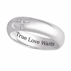 Sterling Silver 'True Love Waits' CZ Cross Band | Overstock.com Shopping - The Best Deals on Cubic Zirconia Rings
