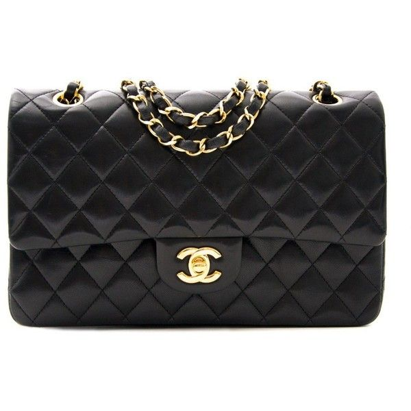 Chanel Medium Lambskin Classic Flap Bag GHW found on Polyvore featuring bags, handbags, lambskin leather purse, lambskin handbag, chanel, chanel purse and lambskin purse