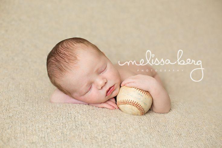 newborn baseball photography   Newborn baby with baseball Raleigh