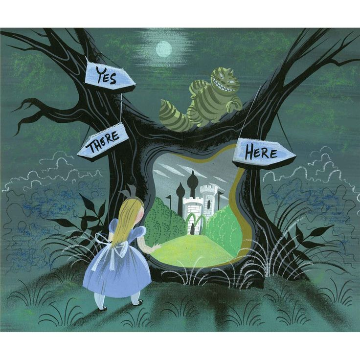 Mary Blair - Alice in Wonderland, Alice finds a portal