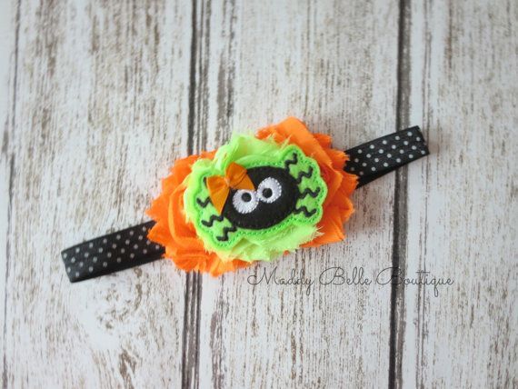 Cute Girly Spider Halloween Shabby Headband  by MaddyBelleBoutique, $8.00
