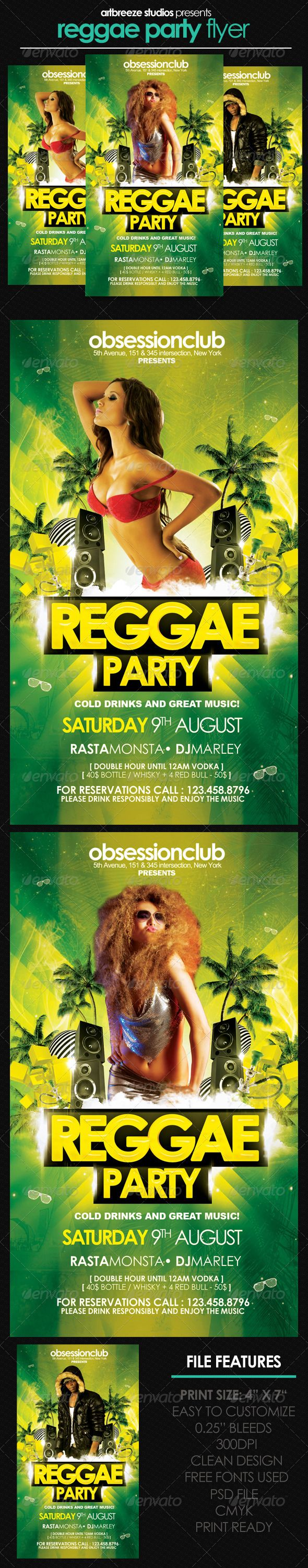 Reggae Party Flyer — Photoshop PSD #yellow #reggae party • Available here → https://graphicriver.net/item/reggae-party-flyer/2820390?ref=pxcr