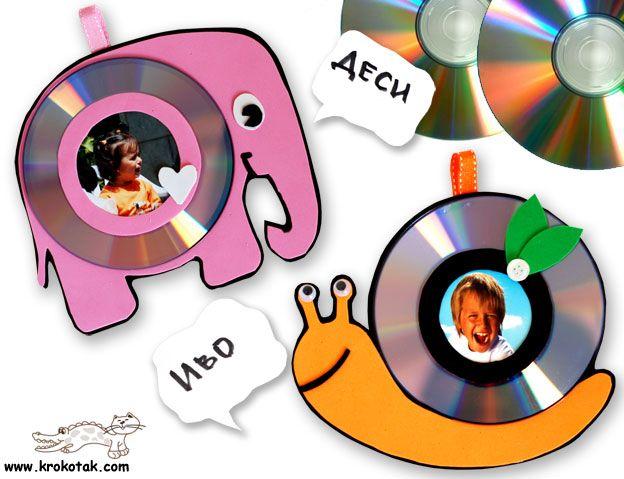 fotolijstje van cd's.