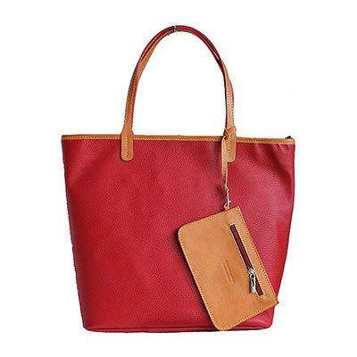Red Leather Shopper Bag With Detachable Clutch Bag - Down to £49.99 from £84.99