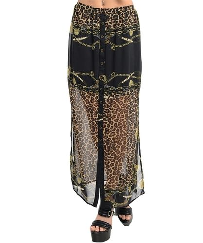 New - Animal Print Maxi Skirt - Sizes S or M. Starting at $8 on Tophatter.com!