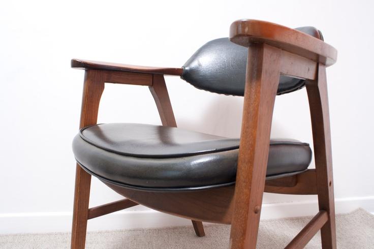 Mid Century Modern Black Gunlocke Chair Paoli Armchair