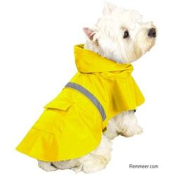 Dog Raincoat – Waterproof Hooded Dog Rain Slicker Jacket.  For potty time in the rain? :-)