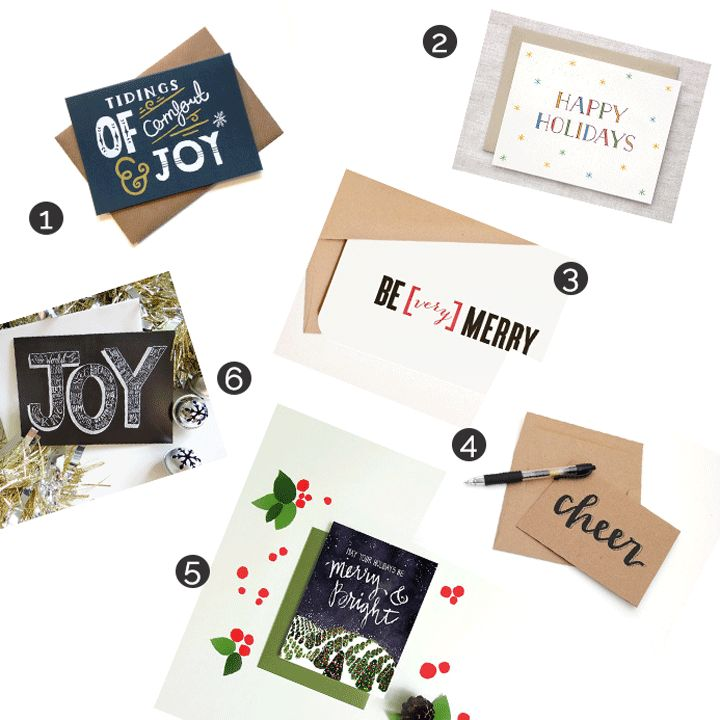 Etsy Holiday Cards! These are all awesome shops w/ beautiful scripts + clever designs.
