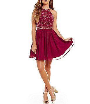 B. Darlin Tie High Neck Swirl Beaded Bodice Swing Dress