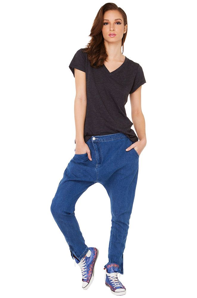 The Fifth Label Last Dash Pants Drop Crotch Harem Jeans Blue Urban Outfitters M #UrbanOutfitters #Relaxed