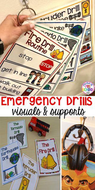 Ejercicios de Incendio, Terremoto, Tornado y Intrusos - Visuales y apoyos para hacer ejercicios de emergencia menos estresantes y aterradores para los niños en sus aulas de preescolar, pre-kindergarten y jardín de infantes.