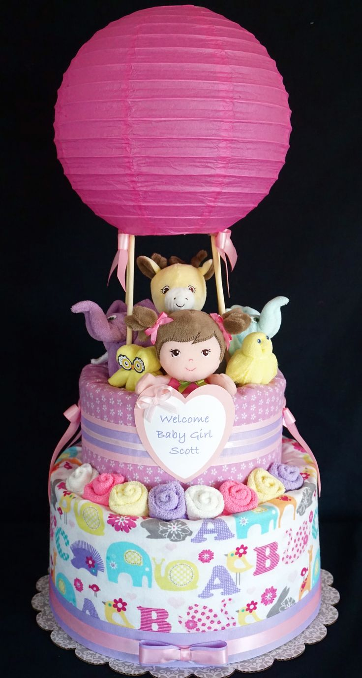 Hot air balloon diaper cake for Diaper crafts for baby shower
