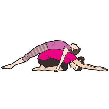 Kneeling, sit on your heels and bend forward so that your chest rests on your lap. Have your child lie on your back, lining up her waist with yours. If her legs dangle, use your arms to hold her in place (or stretch your arms as shown). This pose will open her chest, strengthening her posture, and lengthen your lower back, helping the muscles relax.                 Originally published in the December/January 2013 issue of FamilyFun