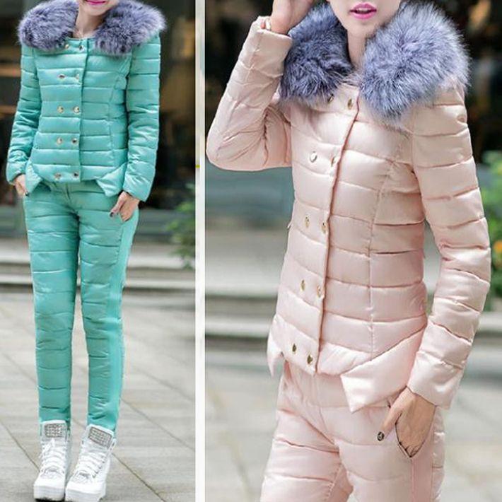 Пальто + брюки спортивный костюм женщины меховым воротником зима корейский тонкий женская военная куртка вниз мягкий хлопок мода куртка WWY186, принадлежащий категории Пуховики и парки и относящийся к Одежда и аксессуары на сайте AliExpress.com | Alibaba Group