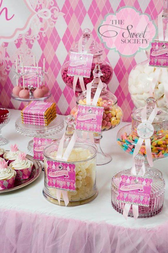 Pink Argyle Princess Party Printable Food Labels Party Themes And