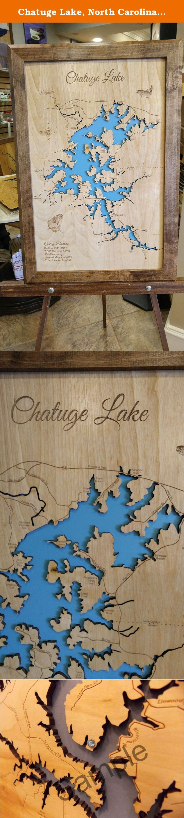 Chatuge Lake, North Carolina, Georgia: Framed Wood Map Wall Hanging. This is a beautifully detailed, laser engraved and precision cut topographical Map of Chatuge Lake in North Carolina with the following interesting stats carved into it: 7000 Surface Acres, 13 Miles Long, Named after a nearby Cherokee settlement. Our handmade, solid wood, English chestnut stained frame gives it the classic look and is available in three sizes. Interesting factoid: Chatuge Dam is an earth-and-rock dam 144...