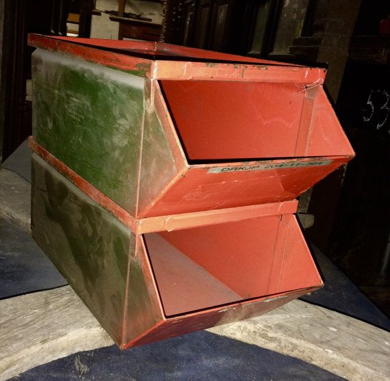 Vintage Industrial Stacking Metal Storage by CountrysideAntiques