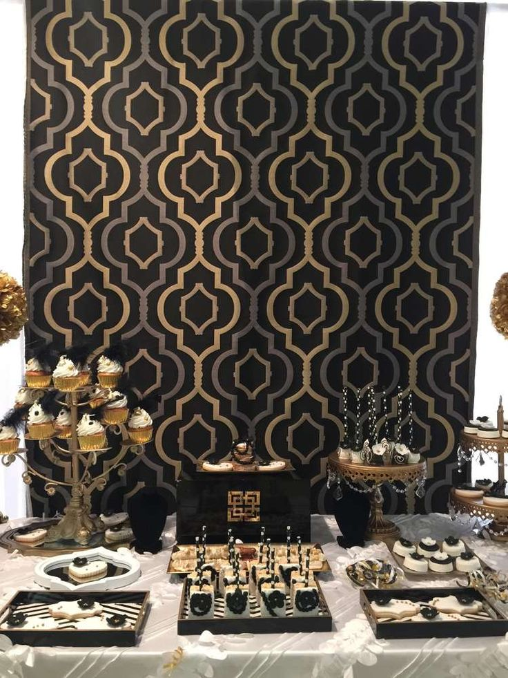Geometric backdrop at a Great Gatsby Quinceañera  party! See more party ideas at CatchMyParty.com!
