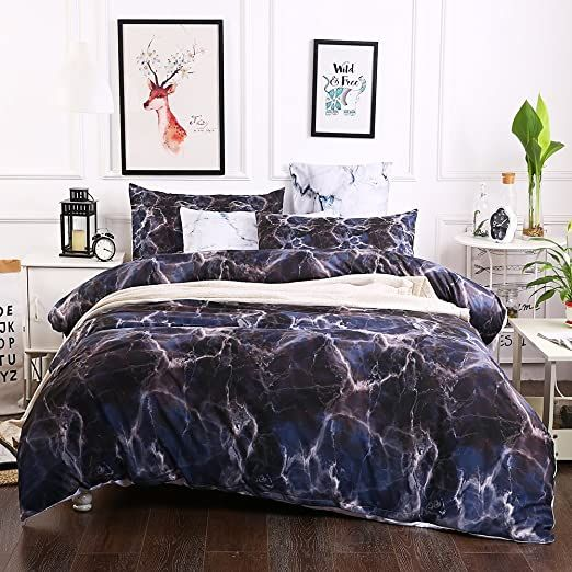 Marble Duvet Cover Set Modern Pattern Printed Soft Microfiber Simple Bedding Set With Zipper Twin Black