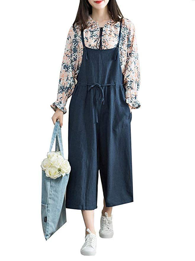 e8fe9dfe63ee Women s Casual Cotton Wide Leg Jumpsuit Loose Linen Suspender Bib Overall  Pants Navy Tag L-US M
