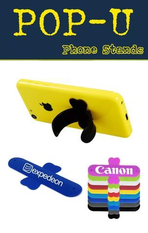Flexible silicone phone holder for trade shows, corporate giveaway or swag!