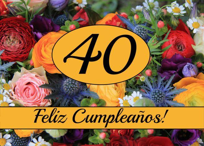 40th spanish happy birthday cardfeliz cumpleaos  summer