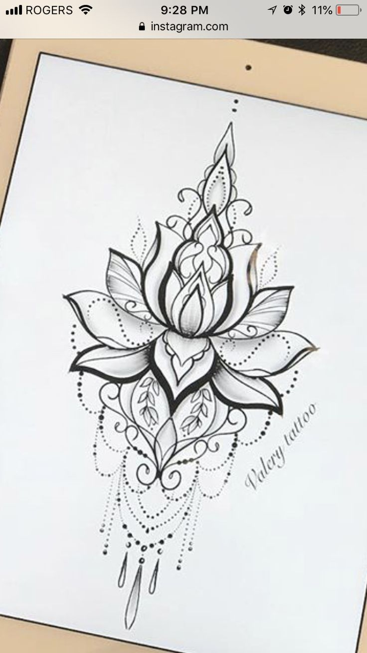 Best 7 Mandala design tattoo Would love this as a temp on my sternum #tattoos #flowertattoos