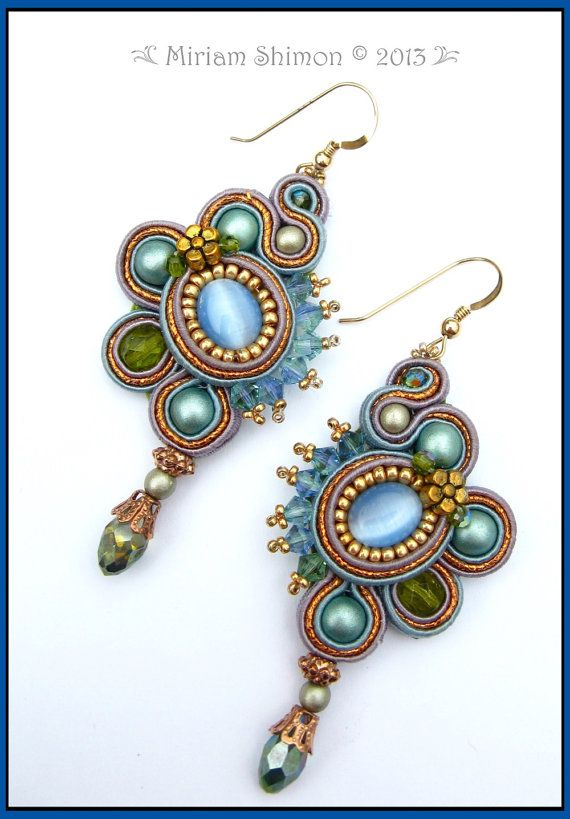 Sky Blue Copper and Gold Soutache earrings by MiriamShimon on Etsy
