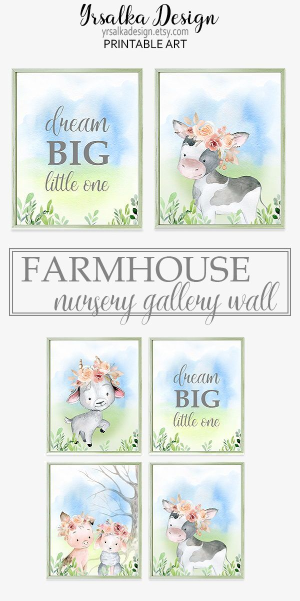 Dream Big Farm Nursery Baby Animal Prints Farmhouse Girl Nursery