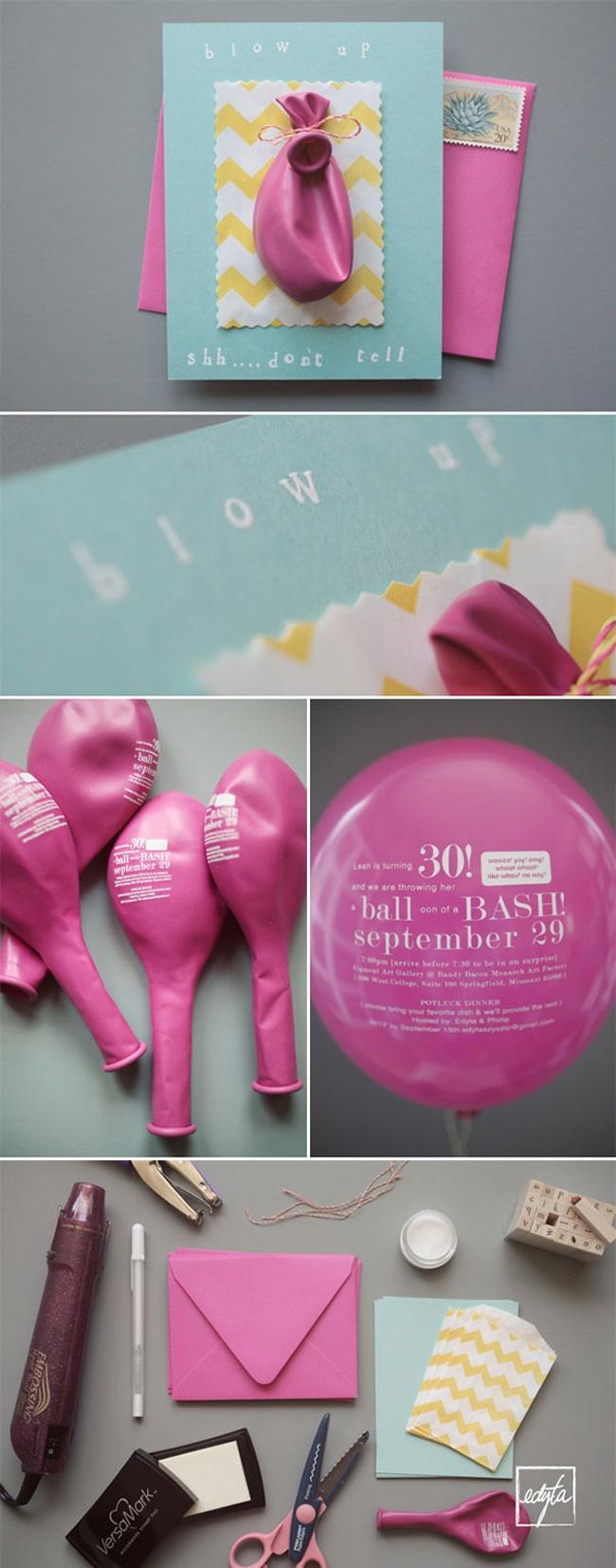 convite de casamento balão