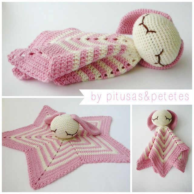 Security blanket ~ free pattern ᛡ...could do a blue one with teddy bear ears too!