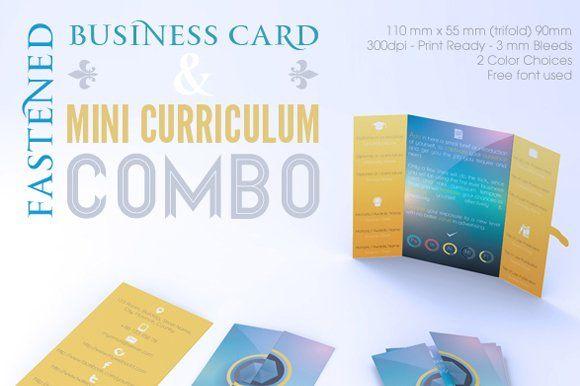 Fastened Buss Card Mini Cv Combo Business Card Template Design Business Cards Creative Templates Business Cards Creative