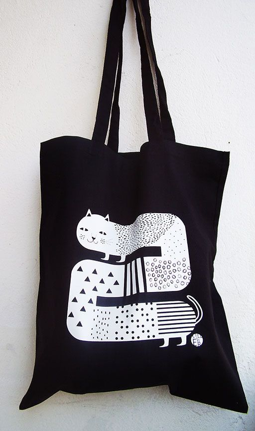 Cat Tote Bag by @Schall Eszter on Etsy, $12.00 #tote #bag #illustration #cat