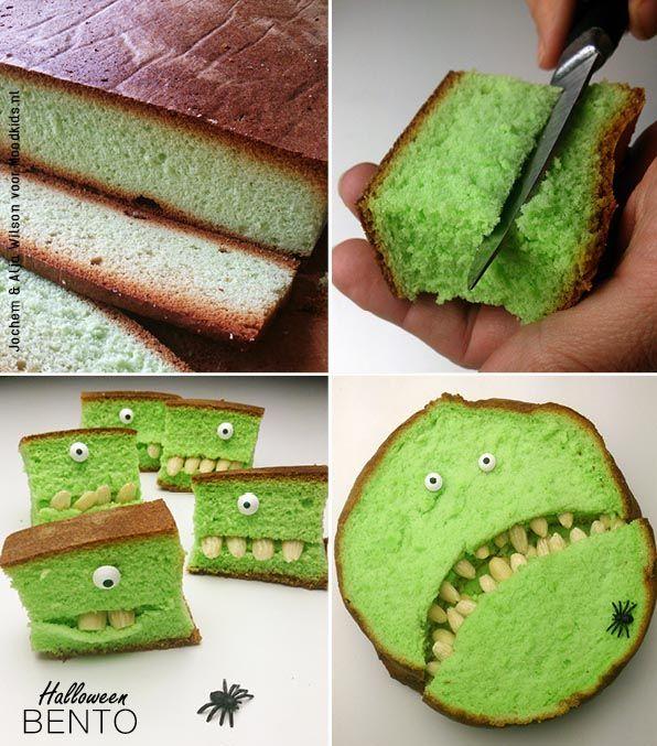 Halloween staat voor de deur en op dit soort dagen nemen we het iets minder nauw met de kleurstoffen. Want wat is nu griezeliger dan groene cake? We maakten monstertjes van Indonesische Pandan cake. Misschien een beetje zoet voor in de lunchbox, maar wel heel erg l