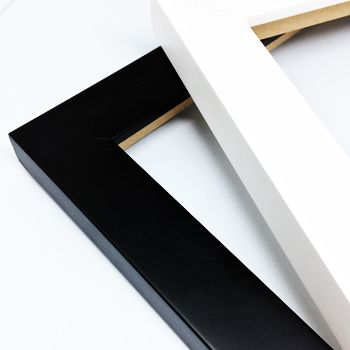 """1"""" width wooden frames in White and Black colour."""