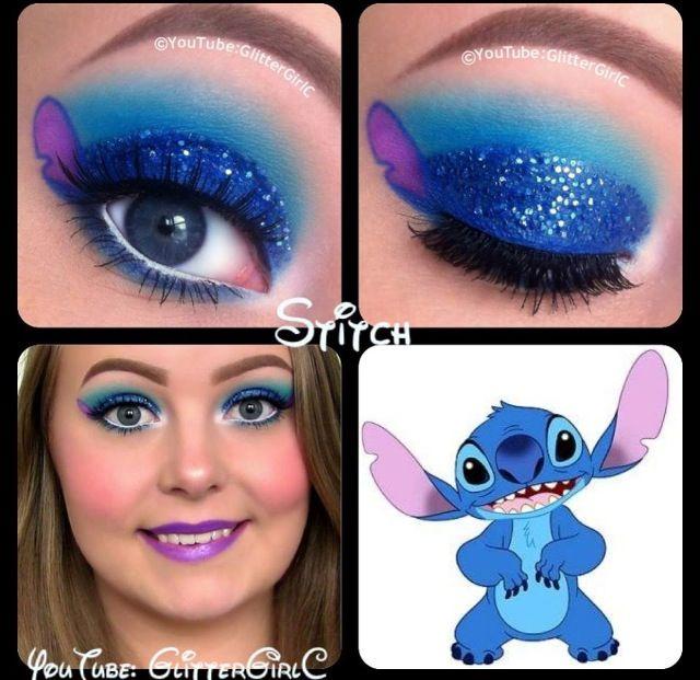 Stitch eye shadow design!!!! So cute!