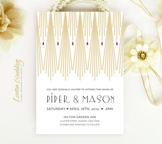 Gold Art Deco Wedding Invitation printed | String lights wedding invitations personalized | Gatsby wedding invitation