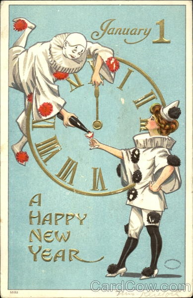 Blue clowns new year postcard,1908