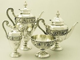 An exceptional antique Victorian English sterling silver four piece tea and coffee service / set; part of our silver teaware collection   Love this  .... http://www.acsilver.co.uk/shop/pc/Sterling-Silver-Four-Piece-Tea-and-Coffee-Service-Antique-Victorian-97p3391.htm
