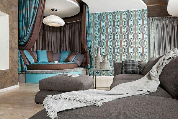 Фото бирюзовой гостиной. Бирюзовый цвет в интерьере гостиной