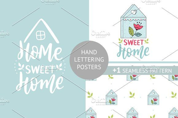 Lettering poster and pattern by Hanifa_design on @creativemarket