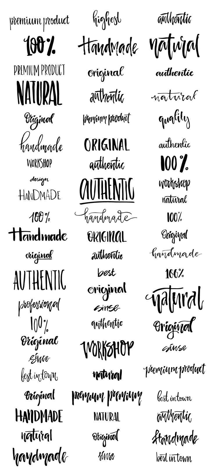Handdrawn Logo Creator Bundle: Get inspiration for your next project with these printable templates!