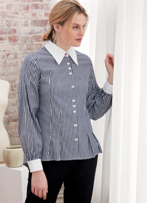 V9333 Kathryn Brenne designer pattern - Button up collared shirt ...