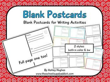 Use these blank postcards for writing activities.  I've included two styles, each with a color and bw copy, and a full 8.5x11 example for use with ...